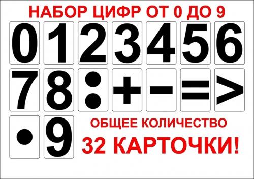 Набор цифр от 0 до 9 с математическими знаками (раздаточный)