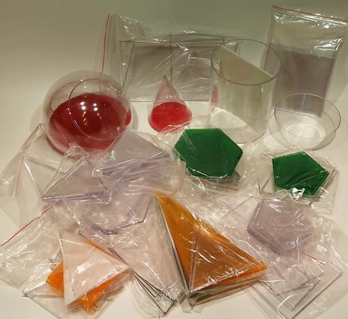 Набор объемных геометрических прозрачных тел с сечением (разборный) 13 штук