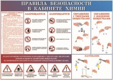 """Виниловая таблица """"Правила  безопасности в кабинете химии"""" 100х140 см"""
