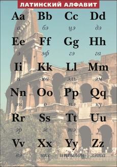 """Виниловая таблица """"Латинский алфавит в картинках с транскрипцией"""" формат 100х140 см"""