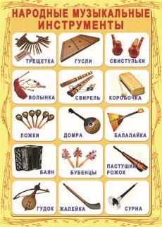 """Виниловая таблица """"Народные музыкальные инструменты"""" 140 х 100 см"""