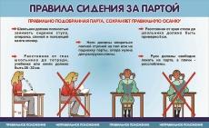 """Виниловая таблица """"Правила сидения за партой"""" 100х140 см"""