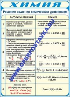 """Виниловая таблица """"Решение задач по химическим уравнениям"""" 100х140 см"""